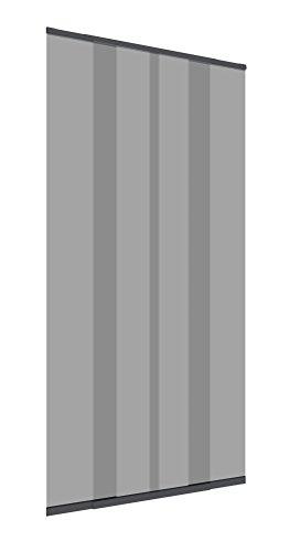 Windhager Teleskop Türvorhang, Insektenschutz, Fliegengitter, Lamellenvorhang, Türvorhang mit Teleskop-Lamellen, 120 cm, anthrazit, 03612