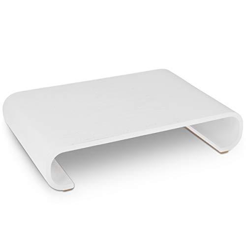 Navaris Bildschirm Holzständer TV Ständer - Computer Tisch Schreibtisch Monitorständer Bank - Schreibtischaufsatz aus Eichenholz in Weiß