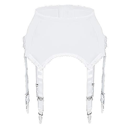 Slocyclub Damen Stretch Strapsgürtel mit verstellbaren 6 Trägern für Strapsgürtel Dessous Hohe Strümpfe(Weiß,XXL)