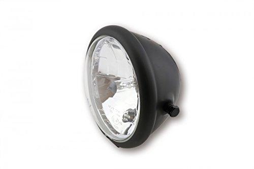 ShinYo Motorrad-Scheinwerfer H4 Hauptscheinwerfer Ø157mm Bates seitlich matt schwarz, Unisex, Multipurpose, Ganzjährig, Metall