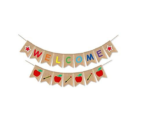 Banner de bienvenida, banderines de arpillera, cartel del primer día de clases, decoración del aula, decoración de regreso a la escuela, n. ° 2