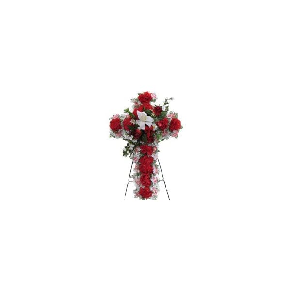 Memory Lane Memorials Deluxe Silk Floral Cross in RED for Grave-site Presentation in Remembrance of Loved Ones. Easel Mounted
