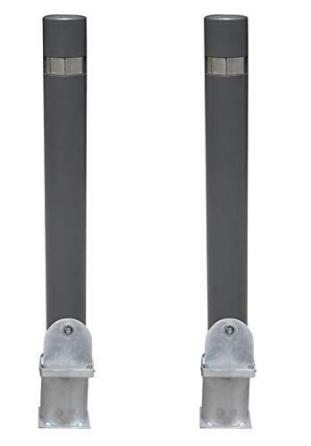 Pilona fija reforzada extraíble.Kit 2 Bolardos de hierro con parte superior en acero inoxidable amovible de 95x1000 mm