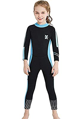 Little Kids Girls UV Protection Swimsuits 2.5mm Neoprene Keep Warm Wetsuit Long Sleeves Diving Suits XL