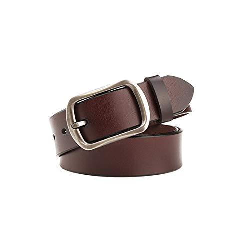 JINHONGH Cinturón de Cuero de señora Cowboy Casual Cuero de Cuero de Vacuno Cinturón Trasero (Color : Café, Size : 105cm)