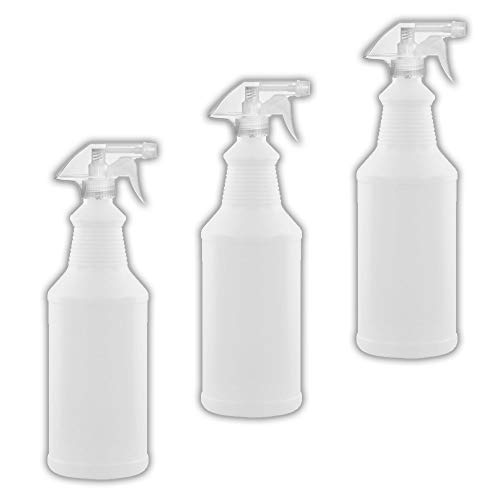 32 oz All-Purpose Spray Bottles - Natural HDPE Plastic w/Trigger Sprayer - Commercial Grade, Industrial or Home Use for Cleaning, Chemicals, Garden - Made in USA (3 Pack, Natural)