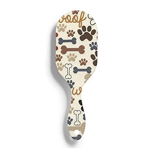 Cojín de aire Peine Huesos de perro Impresiones de patas Premium Impreso Mujeres Niñas Cepillo de pelo Alfileres de nailon suave Antiestático y frizz Cuidado del cabello Masaje