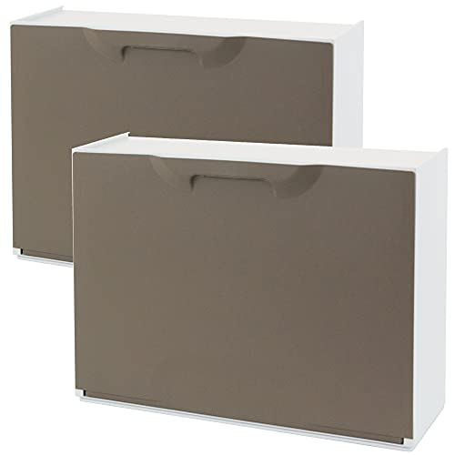 Wellhome UNIKA Pack de 2 zapateros en Polipropileno Color Marron, 40,1x51x17,3 cms. c/u