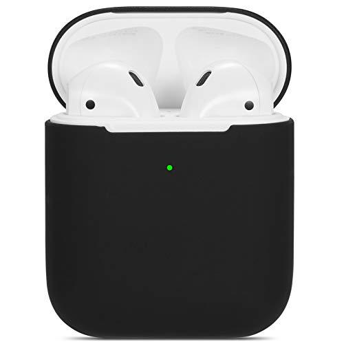 kompatibles Airpods Hülle,Watruer ultradünnes, weiches, silikonschützendes, stoßfestes Schutzzubehör für Apple Airpods 2 und 1 - Schwarz