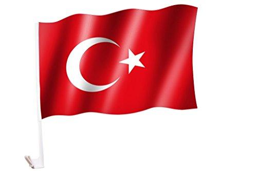 Sportfanshop24 2 Stück/1 Paar Autoflagge/Autofahne Türkei/Türkiye/Turkey - Fahne/Flagge für Auto 2X - car Flag