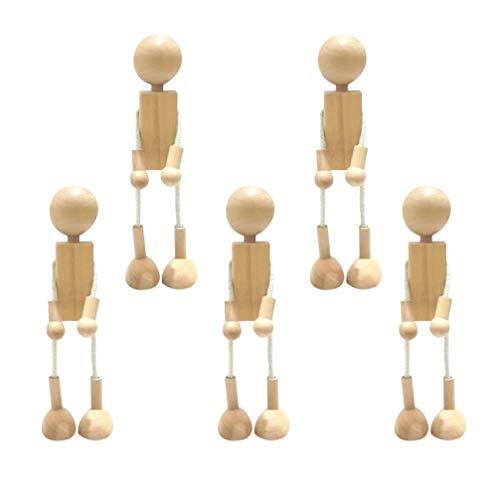 HEALLILY 5 Piezas de Muñecas de Clavija de Madera Figuras de Muñecas de Madera sin Terminar para Muñecas DIY Pintura Artesanía Arte Peg Juego Decoración