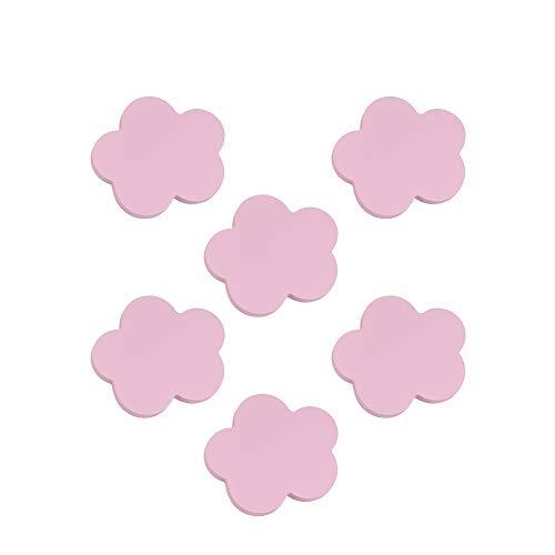 6 Un. TIRADOR Pomo Mueble BEBÉ Nube madera lacada rosa 95x92mm