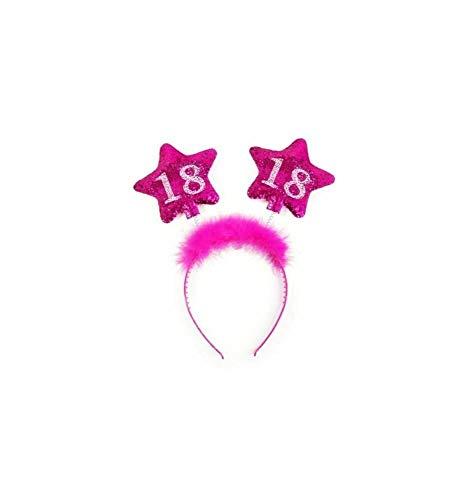 PartyDeco OP18-KARTON - Cerchietto Compleanno 18 Anni con Piume e Stelle per Ragazza