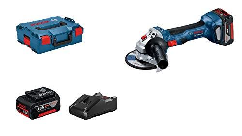 Bosch Professional 18V System Akku Winkelschleifer GWS 18V-7 (125 mm Scheiben-Ø, 2x4.0 Ah Akku, Ladegerät GAL 18V-40, Schutzhaube, Zusatzhandgriff, Aufnahmeflansch, Spannmutter, L-BOXX 136)