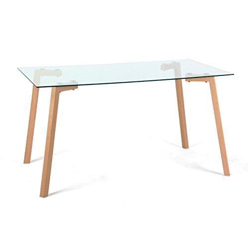 Cribel Sky Tavolo, Metallo Laccato, Vetro temperato, Rovere/Trasparente, 140x80x75 cm