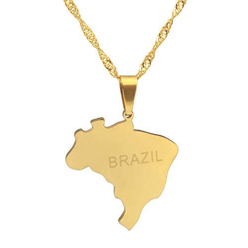 Collar De Mapa,Collar Del Mapa Para Las Mujeres Hombres Oro Mapa De Brasil Colgante Hip Hop Novedad Collares De Moda Para Hombres Señoras Fiesta Joyería Regalos Patrióticos, 45 Cm De Cadena Delgada