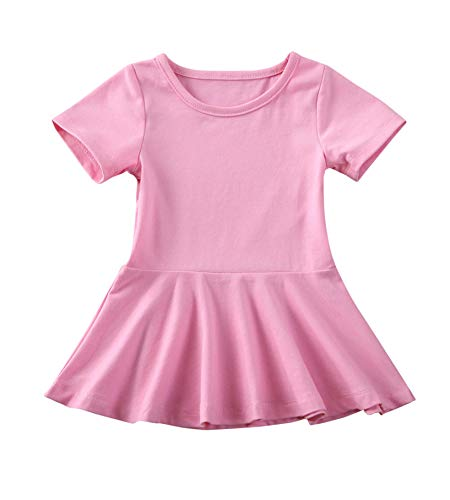 doublebabyjoy Summer Clothes Short Sleeve One-Piece Dress Ruffle Hem Short Skirt Solid Princess Dresses (Light Pink, 2-3 Years)