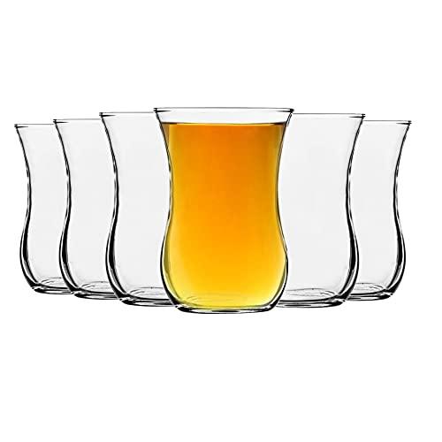 LAV Klasik de vidrio tazas de té para el café, bebidas calientes - estilo antiguo - 115 ml - Claro - Pack de 6