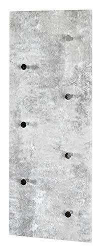 Haku Möbel Wandgarderobe - MDF Dekor Betonoptik 7 Haken Breite 80 cm
