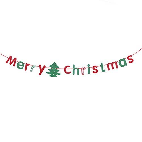 Tinksky Frohe Weihnachten Girlande Banner, Bunting Flags Weihnachtsbaum Anhänger Tür und Wand hängende Dekoration Ornamente Home Party Dekor 3 Meter (rot und grün)