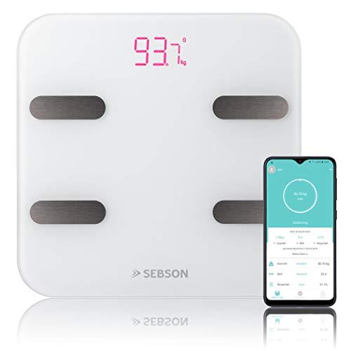 SEBSON Körperfettwaage mit App, digital, Bluetooth, Körperfettanalyse - Körperfett, Wasser, Muskelanteil, BMI, usw - Personenwaage bis 180kg