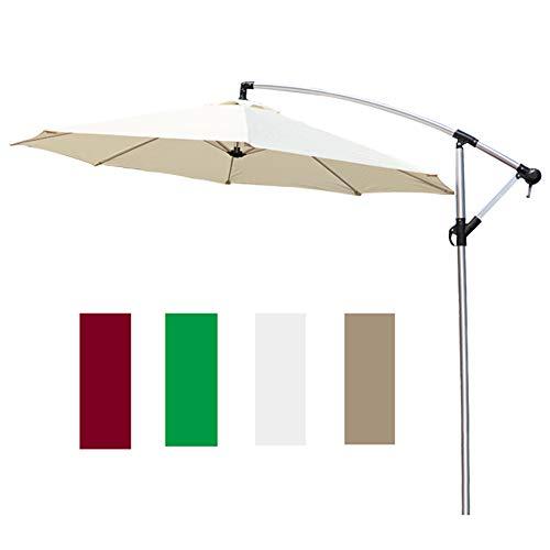Parasol Ø 270 cm Excéntrico de Jardín, Mástil de Aluminio con Manivela, Exterior Sombrilla Protección UV CMXZ