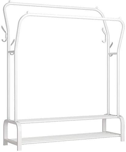 Baymi Perchero de Metal de Doble Riel Percha Multifuncional, Doble Capa, 8 Ganchos, Blanco