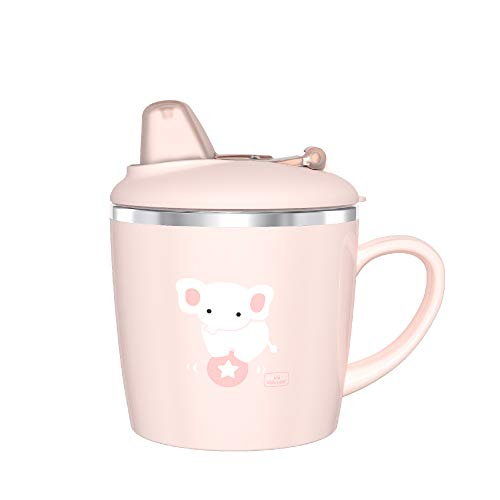 Kids Learning Cup, Baby Trainer Mug for Milk, Water, Coffee, Hot Chocolate, Juice, Smoothies, 7oz, Bunny Tiffany