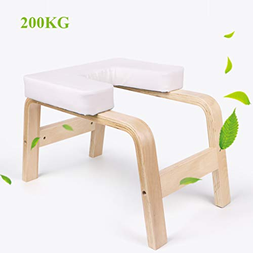 Affordable LFFCC Yoga Headstand Bench, Wood Stand Yoga Inversion Chair Stool, Handstand with PU Pads...