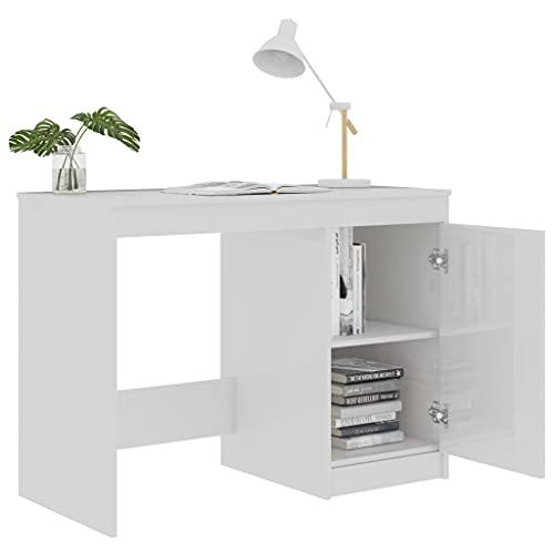 Escritorio de ordenador de mesa de trabajo de aglomerado , mesa de maquillaje para armario de dormitorio de alto brillo con armario lateral, color blanco brillante 100 x 50 x 76 cm