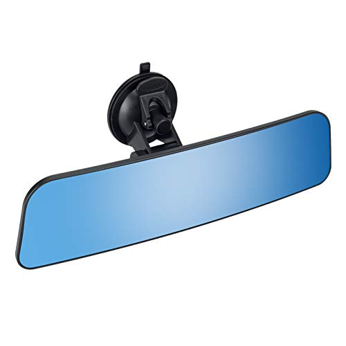 12'' Large Anti Glare Rear View Mirror with Suction Cup, Stick on Universal Frameless Inside Rearview Blue Mirror with Parabolic Wide Angle Mounted on Windshield for Car Marine Auto Boat Truck SUV Van