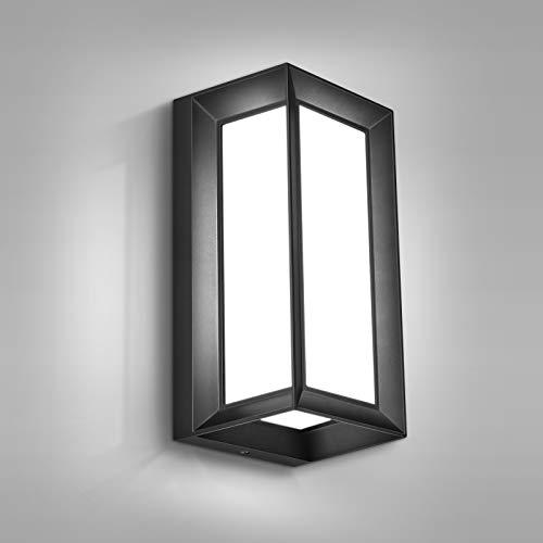 Apliques Pared LED Exterior, MICUTU 12W IP65 Impermeable Apliques Exterior, Lampara Exterior Pared Modernos, para Decoracion Pared Exterior, Balcón, Jardín, Porche, Camino, Patio (Blanco Frío)