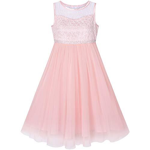 Sunny Fashion Mädchen Kleid Blush Rosa Strass Chiffon Tanzball Maxi Kleid Partykleid Brautjungfer Brautkleid Gr. 146