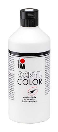 Marabu 12010075070 - Acryl Color, cremige Acrylfarbe auf Wasserbasis, schnell trocknend, lichtecht, wasserfest, zum Auftragen mit Pinsel und Schwamm auf Leinwand, Papier und Holz, 500 ml, weiß