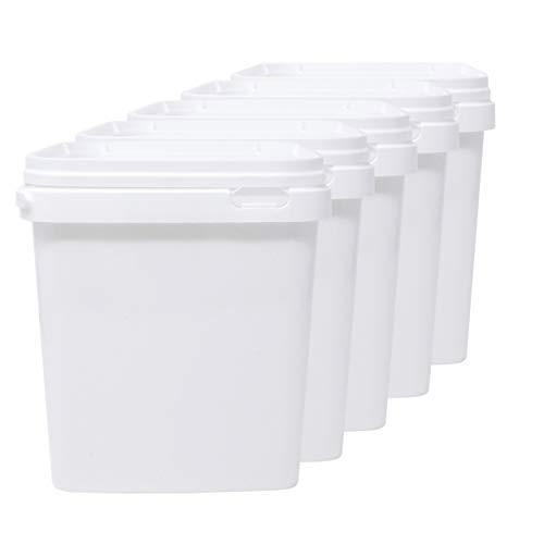 D' Luxy Set 5 Eimer aus Polypropylen für Lebensmittel, 5 L (21x19 cm). Recycelbare, 100% Ohne BPA.