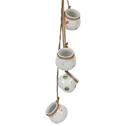 BerryChips Mini Zakka Hemp String Cylinder Ceramic Hanging Pot Decoration Rustic Touch and Durable Ceramic Hanging String (boxed)