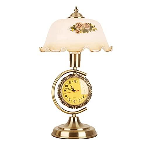 China antigua decorativa lámpara de mesa lámpara de noche lámpara de cama estudio de estudio lámparas de mesa con reloj de cristal de reloj