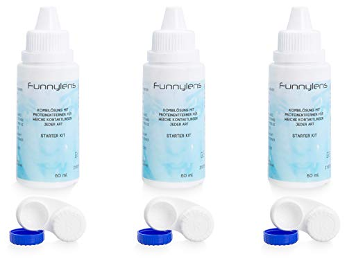 Funnylens Kombilösung für weiche Kontaktlinsen 3 x 60ml Kontaktlinsenflüssigkeit - All In One Reisegröße Pflegemittel + 3 Kontaktlinsenbehälter (180ml)