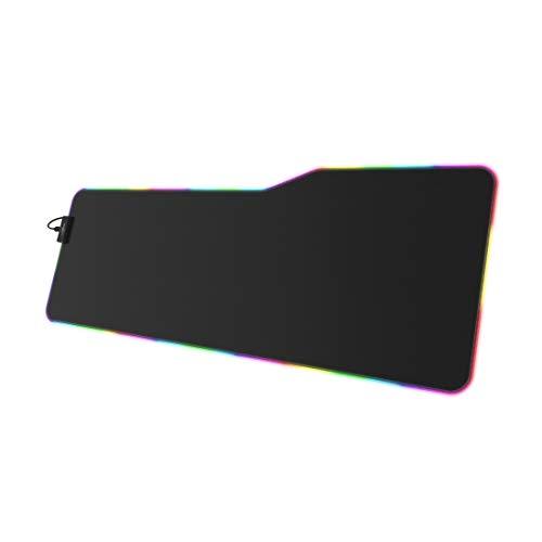 ULAGE Mauspad und Tastatur Rag Illuminated XXL (Speed-Version, Monochrom, Stoff, Mehrfarbig, rutschfeste Basis, Gamingmatte) schwarz/grün/blau/rot/gelb/violett/türkis