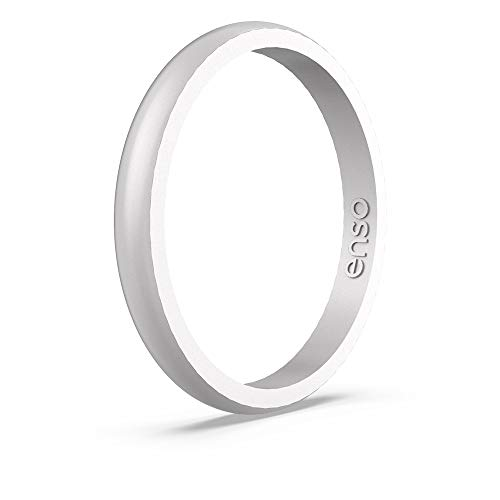 Enso Rings Halo Elements Silicone Ring Infused with Precious Elements – Stackable Wedding Engagement Band – Thin Minimalist Band – 2.54mm Wide, 1.5mm Thick - (Silver, 6)