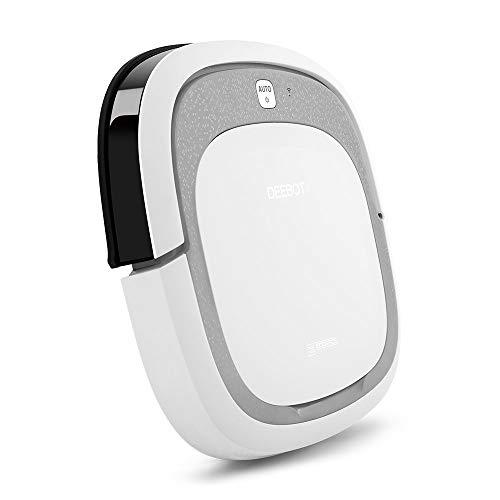 Ecovacs Deebot Slim2 - Robot Aspirador 3 en 1: barre, aspira y pasa mopa, navegación aleatoria, control por App, Wifi, 3 modos de limpieza, diseño ultrafino, suelo duro, detecta obstáculos, blanco