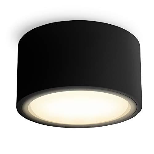 SSC-LUXon CELI-X LED Decken Aufbauleuchte dimmbar flach - LED GX53 mit 4,5W warmweiß 230V - Decken Aufbauspot rund schwarz