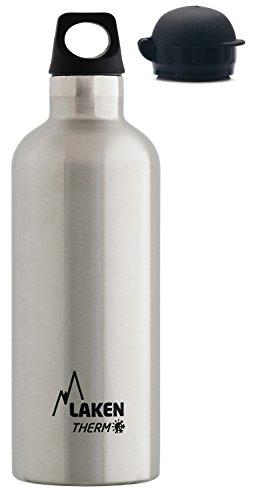 Laken Thermo Futura Thermoflasche Isolierflasche Edelstahl Trinkflasche Schmale Öffnung - 500ml, Silber + extra HIT Sport Trinkverschluss