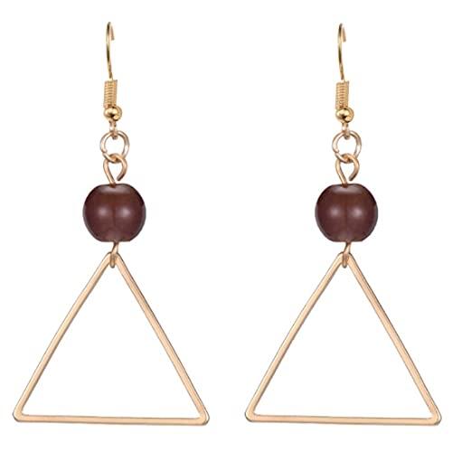 Libartly Pendientes, Pendientes Pendientes con Patrón De Triángulo Salvaje Personalidad Femenina Perla Geométrica Simple Triángulo Dimensional Pendientes Colgantes - Oro + Rojo