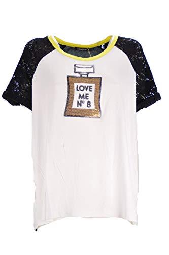 LUISA VIOLA T-Shirt Donna Bianco Nero Giallo Taglie Comode (Elena Miro) 41