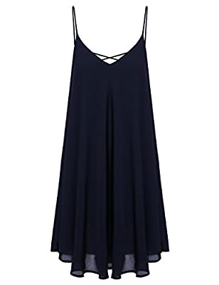 Romwe Women's Summer Spaghetti Strap Sundress Sleeveless Beach Slip Dress Navy M