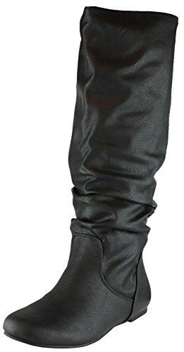 Cambridge Select Women's Slouchy Knee High Flat Boot (10 B(M) US, Black Swirl PU)