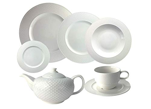 Blanca's Feel Vajilla Completa moderna Bone China Porcelana color Blanco (37 piezas)...