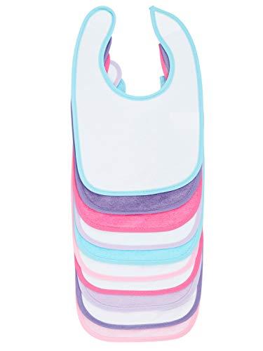 Bieco Baby Lätzchen, 10er Pack mit Klettverschluss in tollen Farben für Junge und Mädchen, Klettverschluss und doppelseitig mit außen Baumwolle, abwaschbar und wasserdicht, Kinderlätzchen