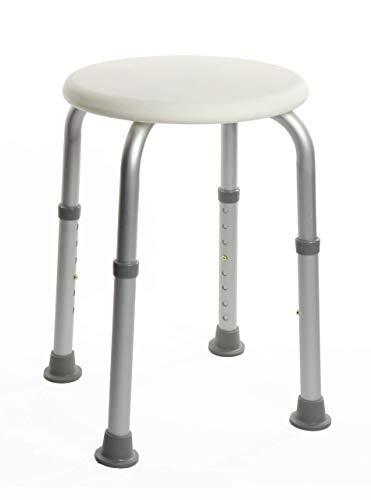 OrtoPrime Taburete de Ducha Redondo - Taburete Baño Antideslizante para discapacitados o ancianos - Silla Ortopédica para ducha - Altura Regulable